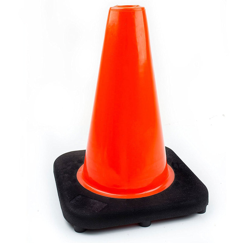 (Set of 10) RK PVC Traffic Safefy Cone, Black Base, Orange 12-inch-RK Safety-RK Safety