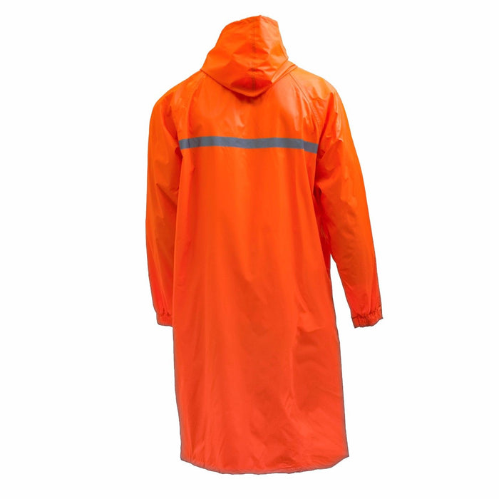 Men's Waterproof Long Raincoat PVC Trench Coat - Orange - RK Safety