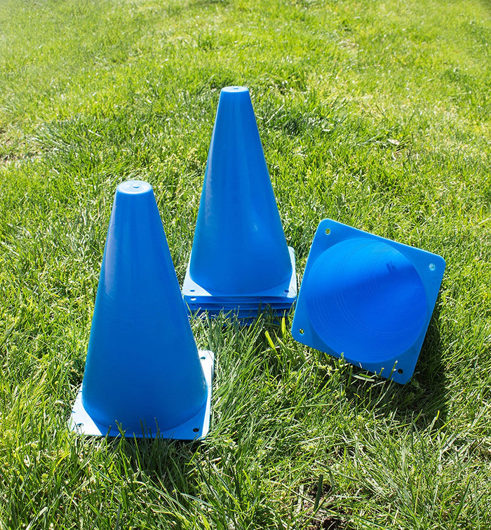 (Set of 10) RK Sports Plastic Sport Cones - Blue - RK Safety