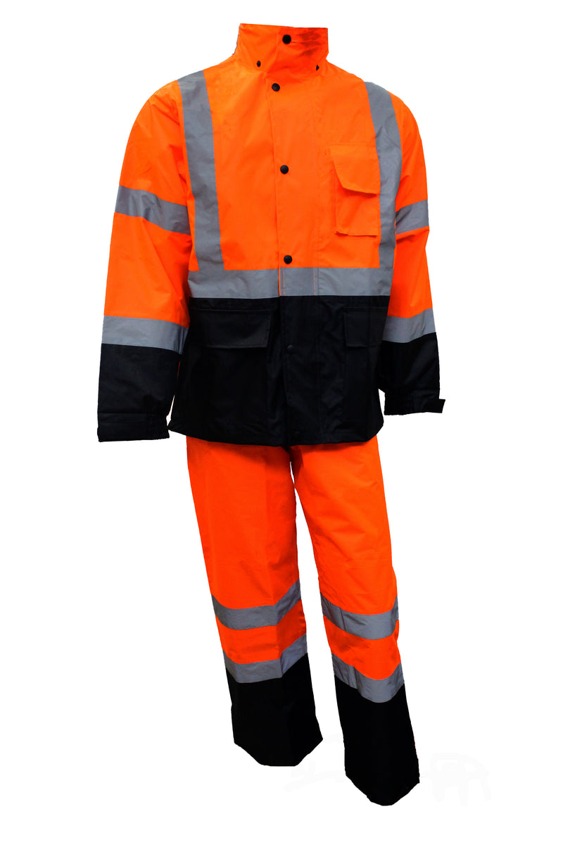 RK Class 3 Rain Suit High Visibility Reflective Black Bottom-RK Safety-RK Safety