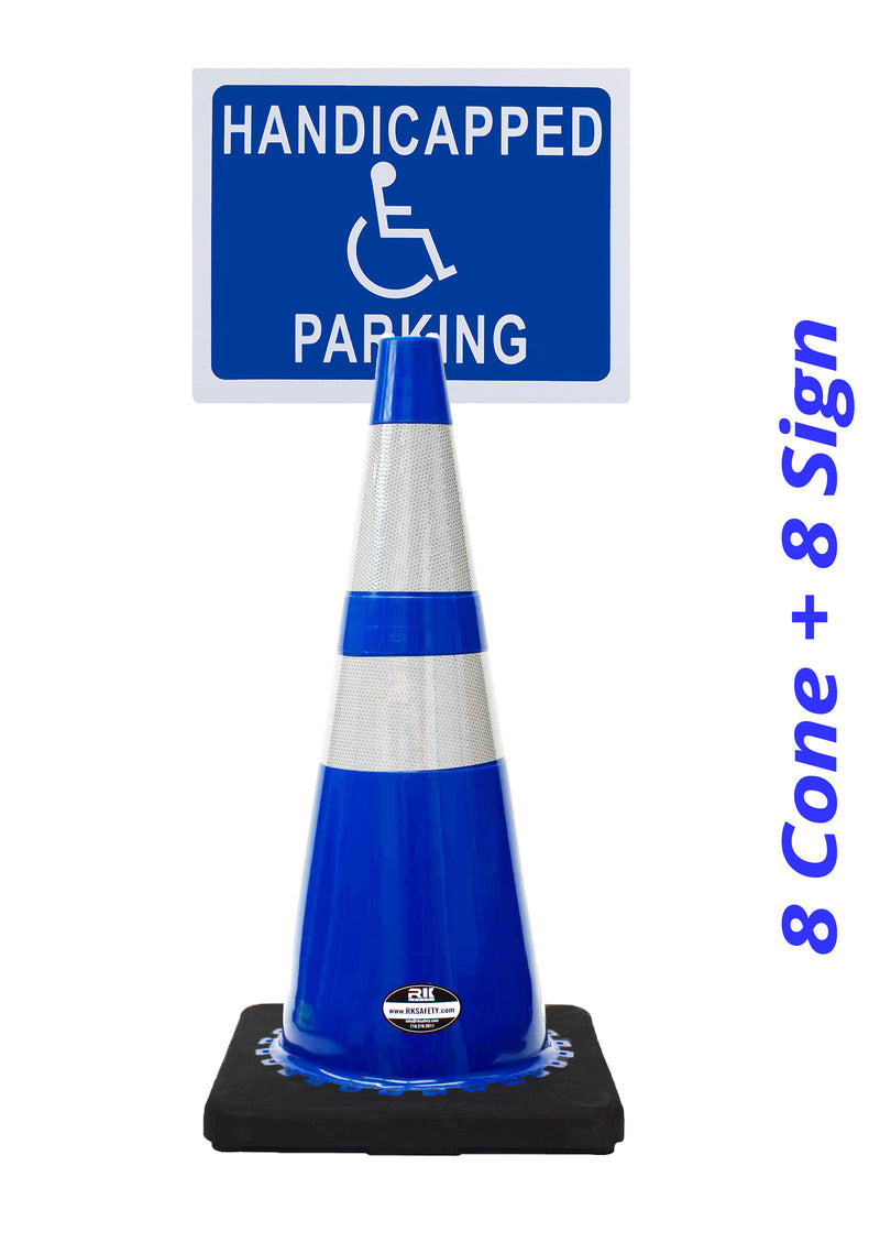 "RK-Safety 28"" Blue Cone, Black base With Two Reflective Tape, Plus Cone Sign 40 ""Handicapped Parking"", (Cone-8 ea + Cone Sign-8 ea)-RK Safety-RK Safety"