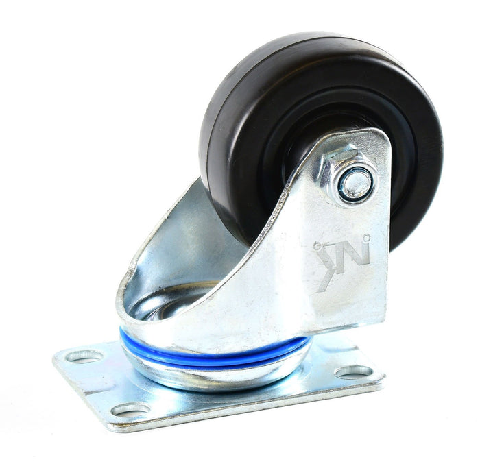 NK 3 Inch Low Profile Hard Rubber Wheel Swivel Plate Casters - CHR3SSRE-4 - RK Safety