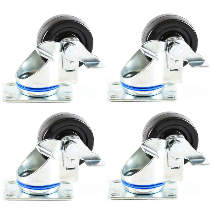 NK 3 Inch Low Profile Hard Rubber Wheel Swivel Plate Casters with Brake - CHR3SSBRRE-4 - RK Safety