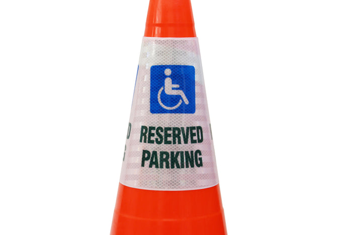 "RK Safety ""Reserved Parking with Handicapped"" Bright Reflective Cone Message Sleeve, [Cone Not Included]…-RK Safety-RK Safety"