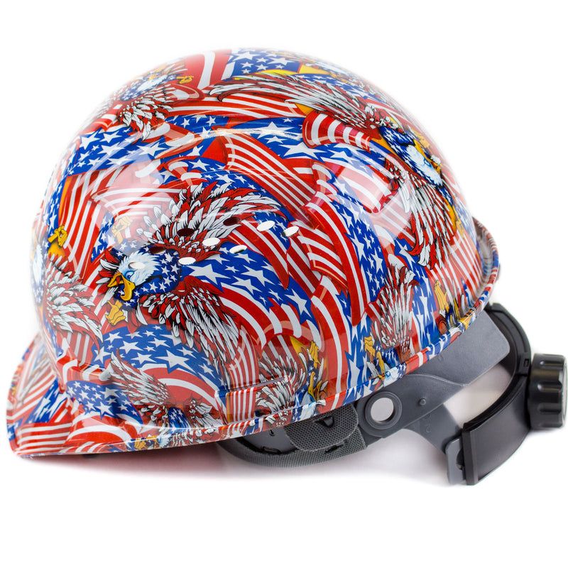 RK Safety RK-HP34-FLAG Flag Designed Hard Hat Cap Style with 4 Point Ratchet Suspension-RK Safety-RK Safety