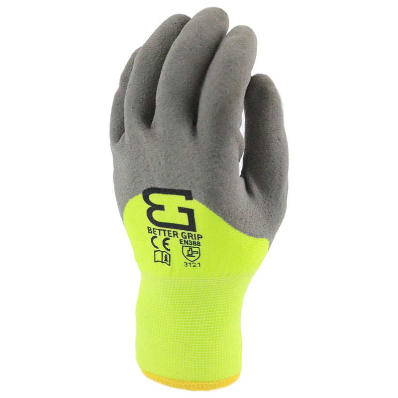 Better Grip BGWANS3/4 Safety Winter Insulated Double Lining Rubber Latex 3/4 Coated Work Gloves, 3 Pairs/Pack (Lime)-RK Safety-RK Safety