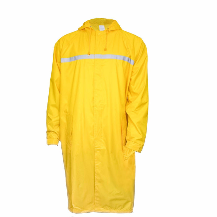 Men's Waterproof Long Raincoat PVC Trench Coat - Yellow - RK Safety