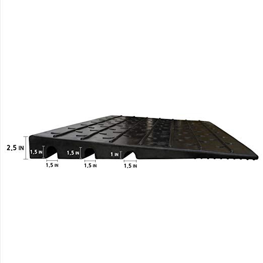 "RK Safety RK-RUP-8 2.5"" Rubber Threshold Ramp with 3 Channels with Slip-Resistant Surface …-RK Safety-RK Safety"