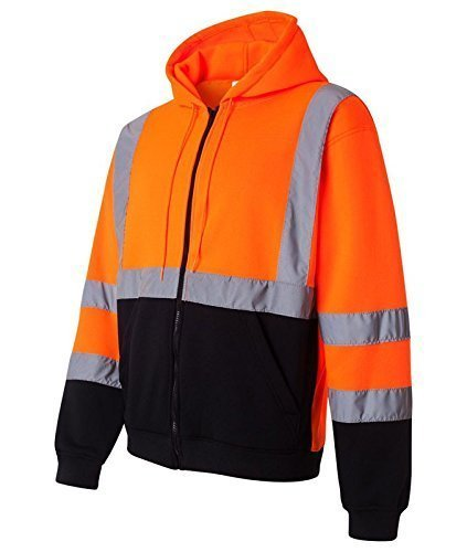 Class 3 High Visibility Sweatshirt , Full Zip Hooded, Fleece - H6611 - RK Safety