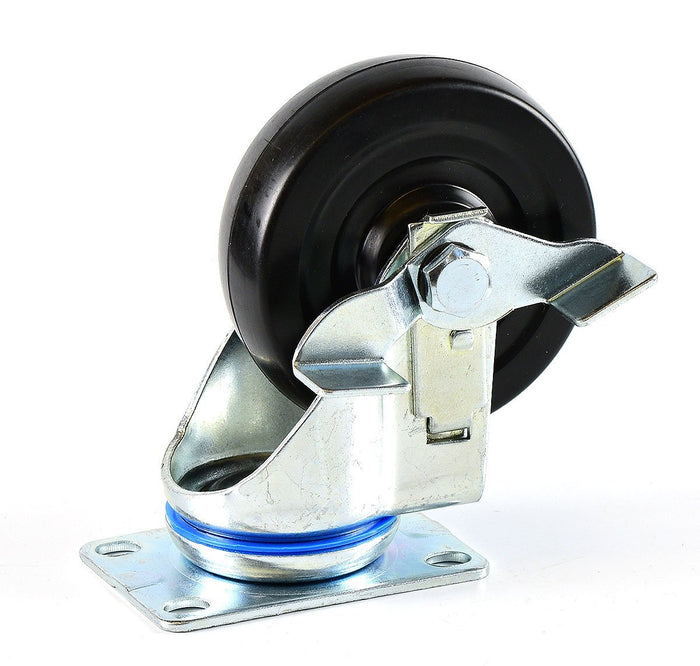 NK 4 Inch Low Profile Hard Rubber Wheel Swivel Plate Casters With Brake - CHR4SSBRRE-4 - RK Safety