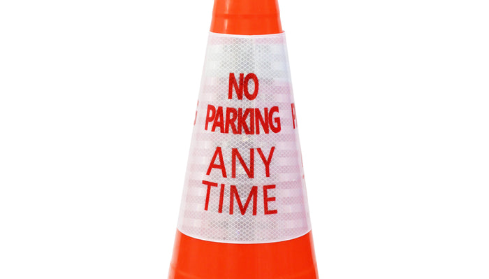 "RK Safety ""No Parking Any Time"" Bright Reflective Cone Message Sleeve, [Cone Not Included]-RK Safety-RK Safety"