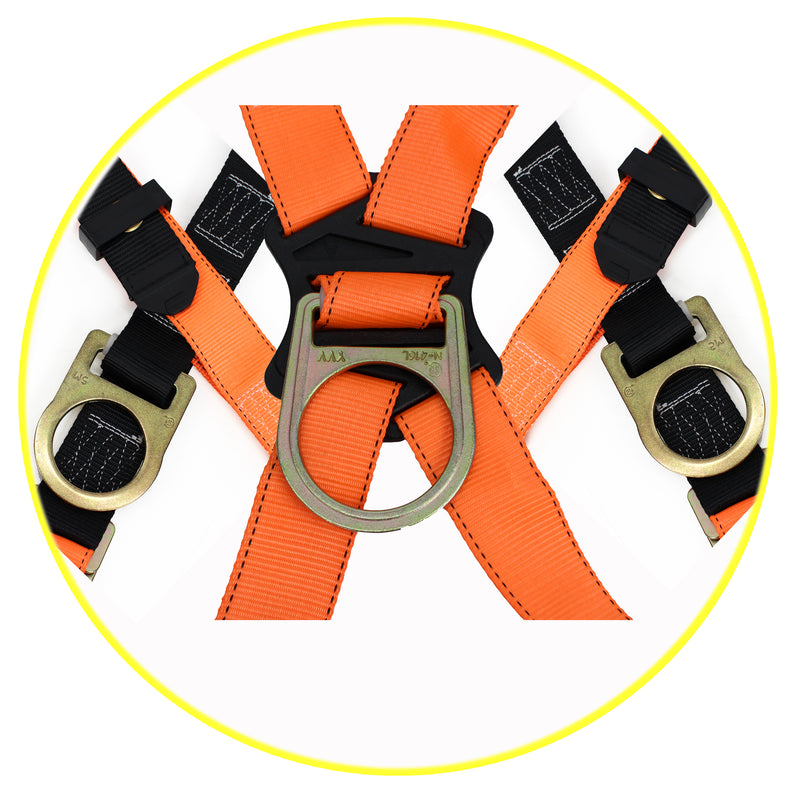 Spidergard SPH002 Three D-Ring Full Body Fall Protection Safety Harness (Yellow, L-XL) (1 Pack, Orange)-RK Safety-RK Safety