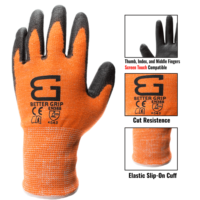 Level 5 Cut Resistant Shell PU Coating Work Gloves for Smart Phone-OR-Better Grip-RK Safety