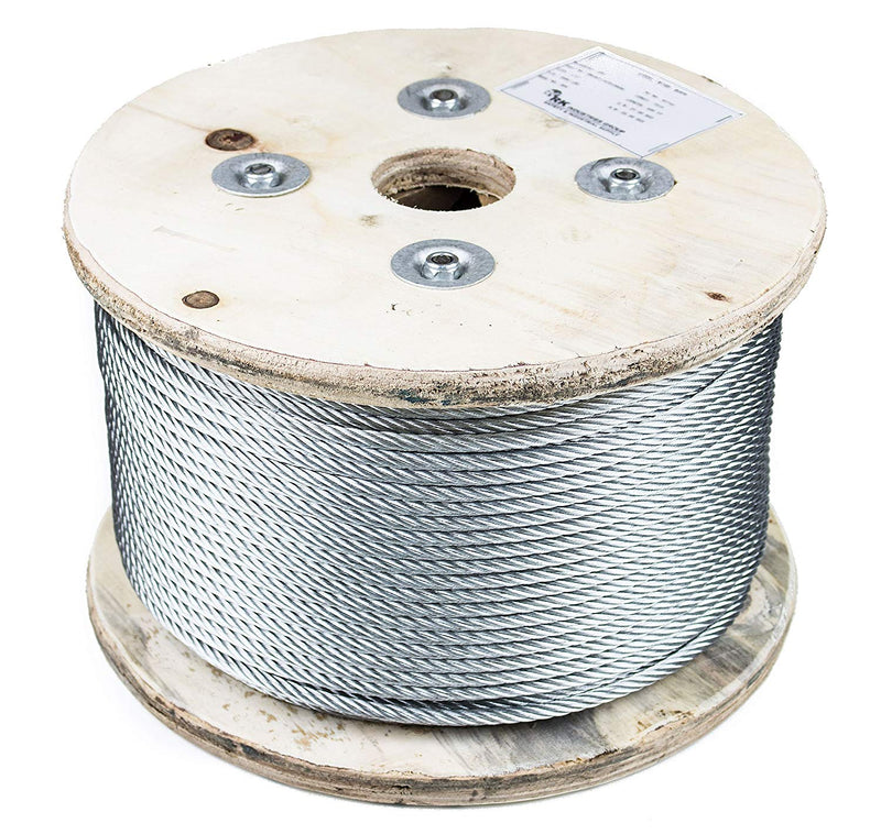 RK Wire Rope, 7x19 Galvanized Aircraft Steel Cable, 1/4-Inch, 500 Feet-RK Safety-RK Safety