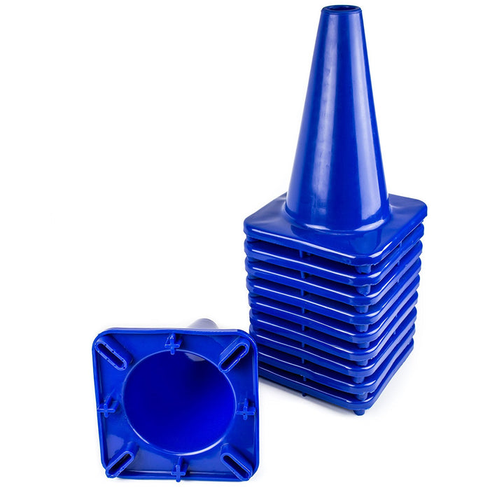 "(Set of 10) 12"" PVC Traffic Safety Cones, Plain - Blue - RK Safety"