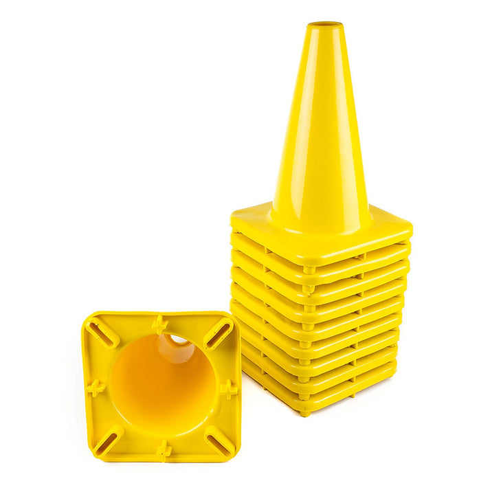 "(Set of 10) 12"" PVC Traffic Safety Cones, Plain - Yellow - RK Safety"