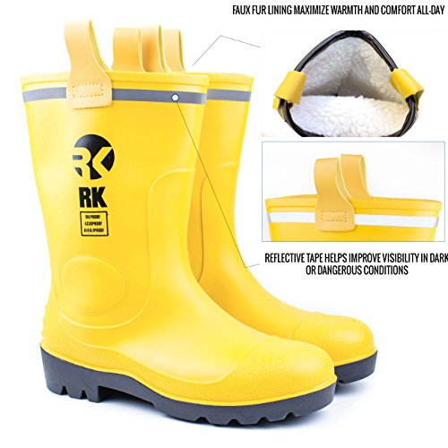 Insulated Waterproof Fur Interior Rubber Sole Winter Rain Boots-RKBW-YEL - RK Safety