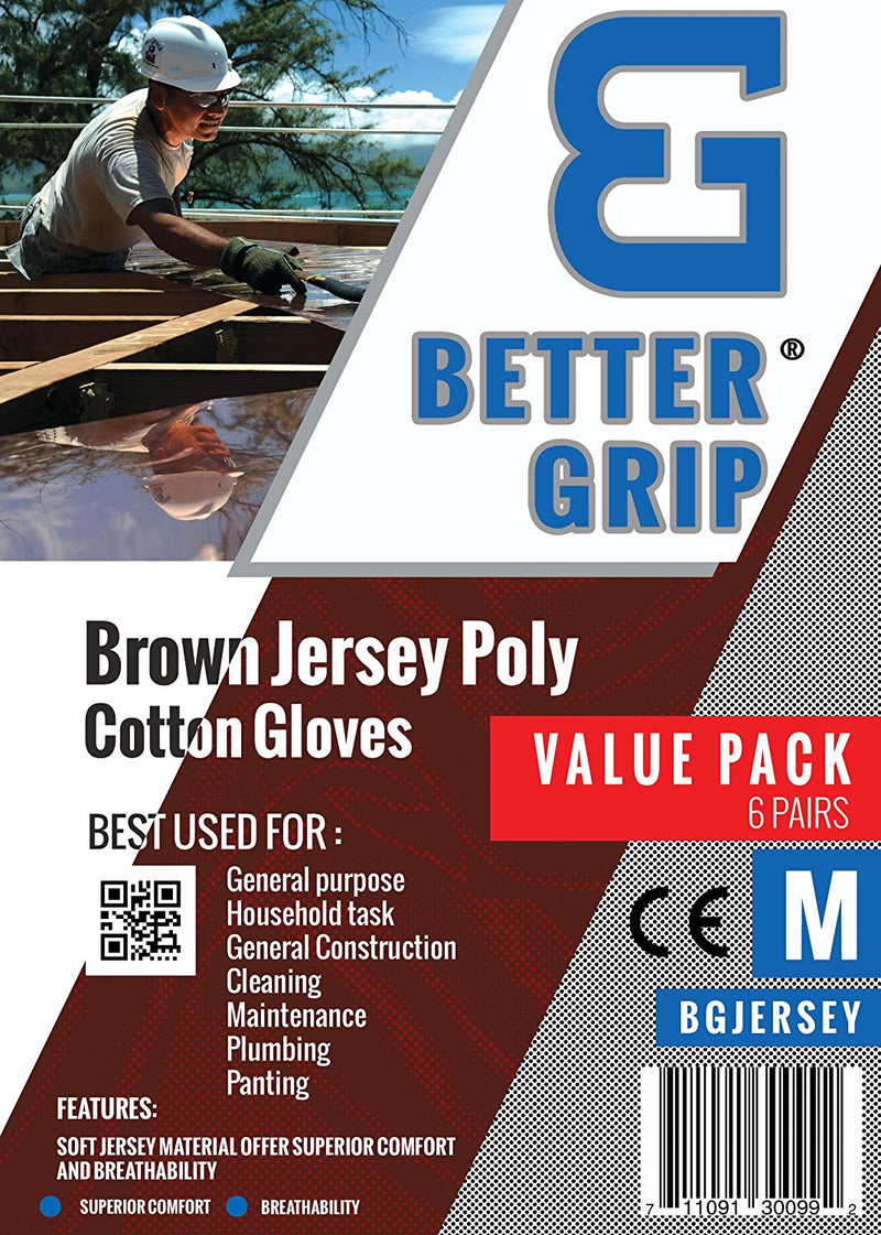 Better Grip BGJERSEY Brown Jersey Work Gloves-Better Grip-RK Safety