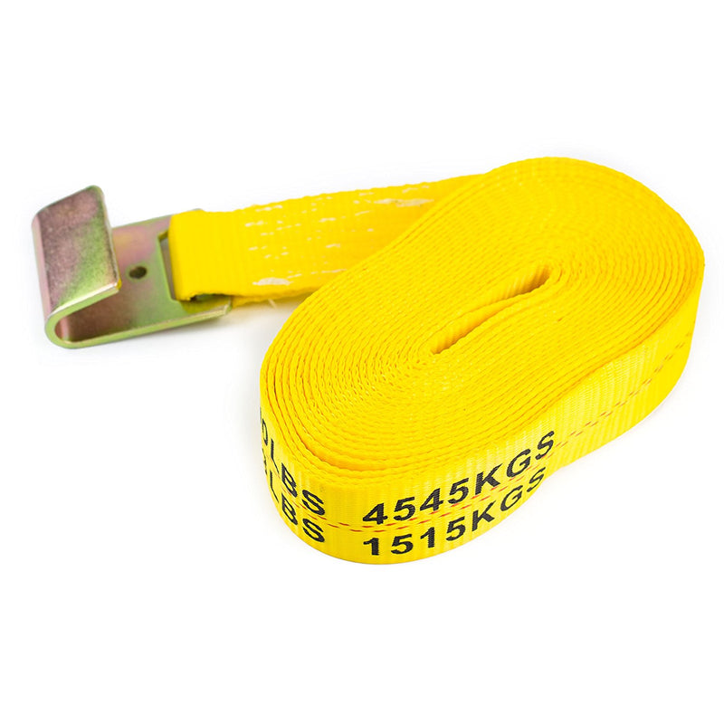 "NK-RCF2X27 2"" X 27ft Yellow Ratchet Strap with Flat Hooks-Long Wide Handle, Webbing with Print, Truck Cargo Tie Down(Yellow, 2"" x 27"", Qty:1)-NK-RK Safety"