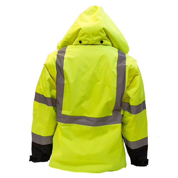Men's Ansi Class 3 High Visibility Safety Bomber Jacket With Zipper, PVC Pocket, Black Bottom and Detachable sleeve - J8512-RK Safety-RK Safety