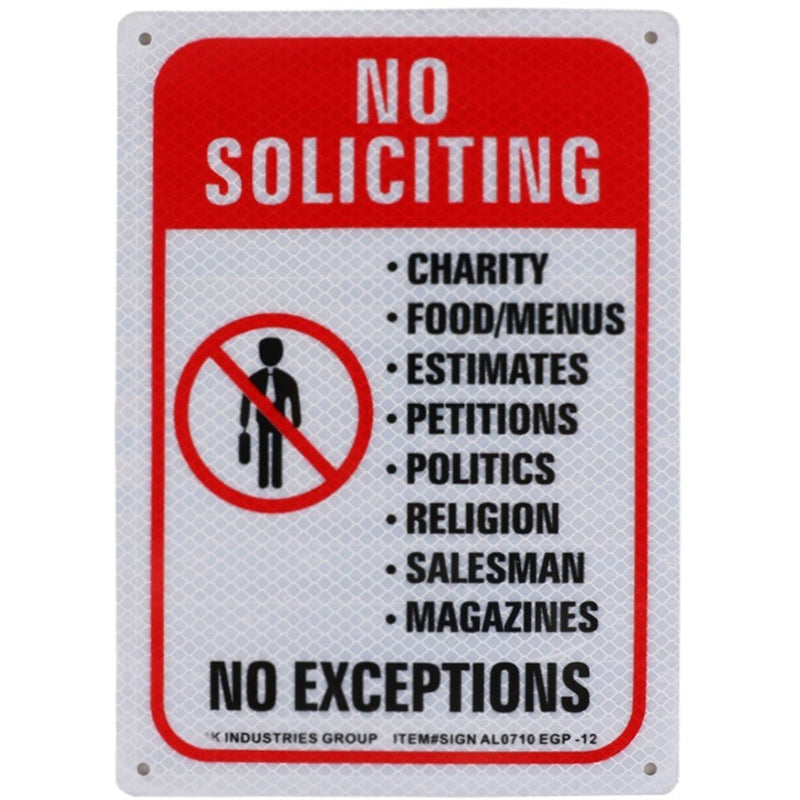 "RK Safety Sign, Legend ""No Soliciting, No Exceptions""-RK Safety-RK Safety"