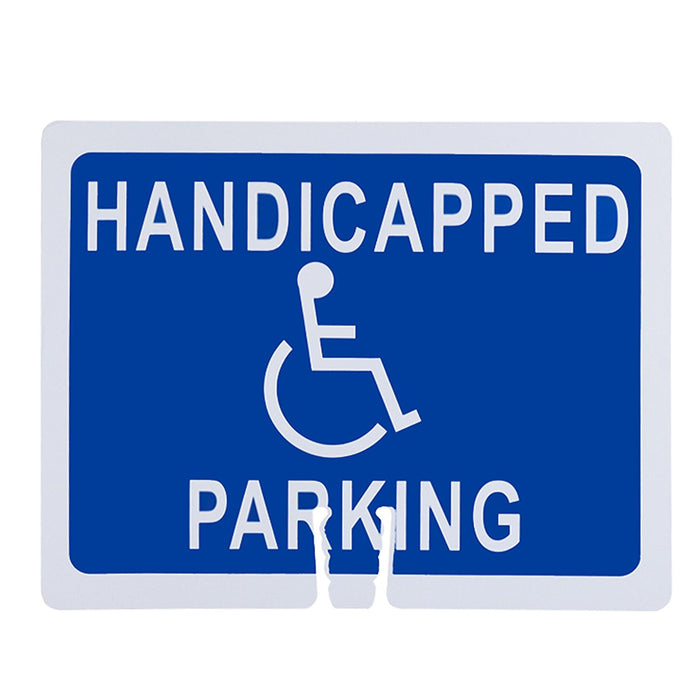 "RK Traffic Cone Sign 40 Legend ""Handicapped Parking"", 18"" Width x 14"" Height, White on Blue - RK Safety"