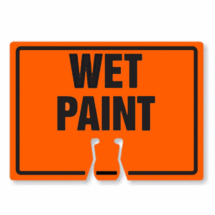 "RK Traffic Cone Sign 32 Legend ""Wet Paint"", 18"" Width x 14"" Height, Black on Orange-RK Safety-RK Safety"