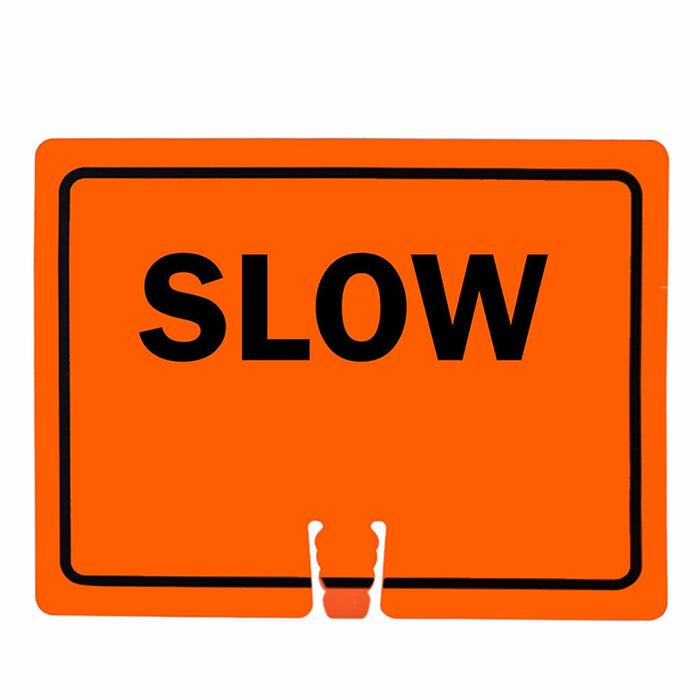 "RK Traffic Cone Sign 31 Legend ""Slow"", 18"" Width x 14"" Height, Black on Orange - RK Safety"