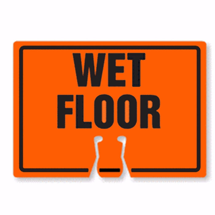 "RK Traffic Cone Sign 33 Legend ""Wet Floor"", 18"" Width x 14"" Height, Black on Orange-RK Safety-RK Safety"