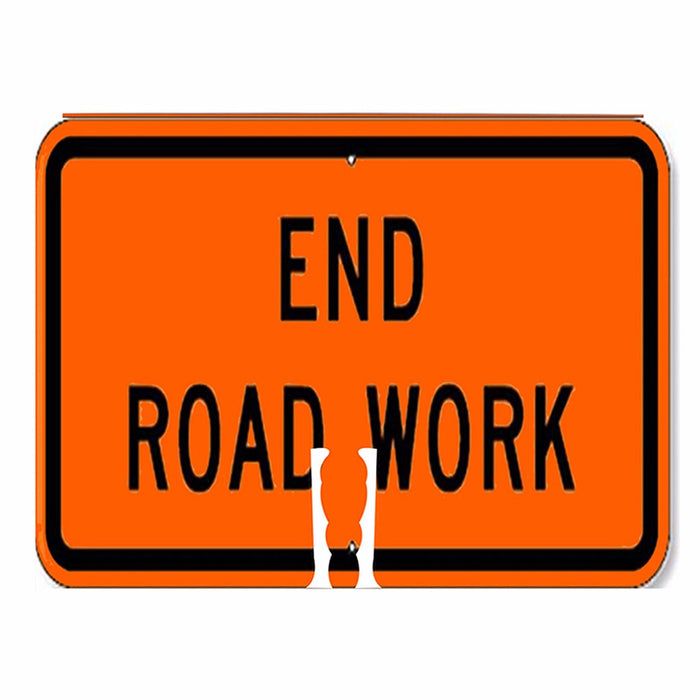 "RK Traffic Cone Sign 36 Legend ""End Road Work"", 18"" Width x 14"" Height, Black on Orange - RK Safety"