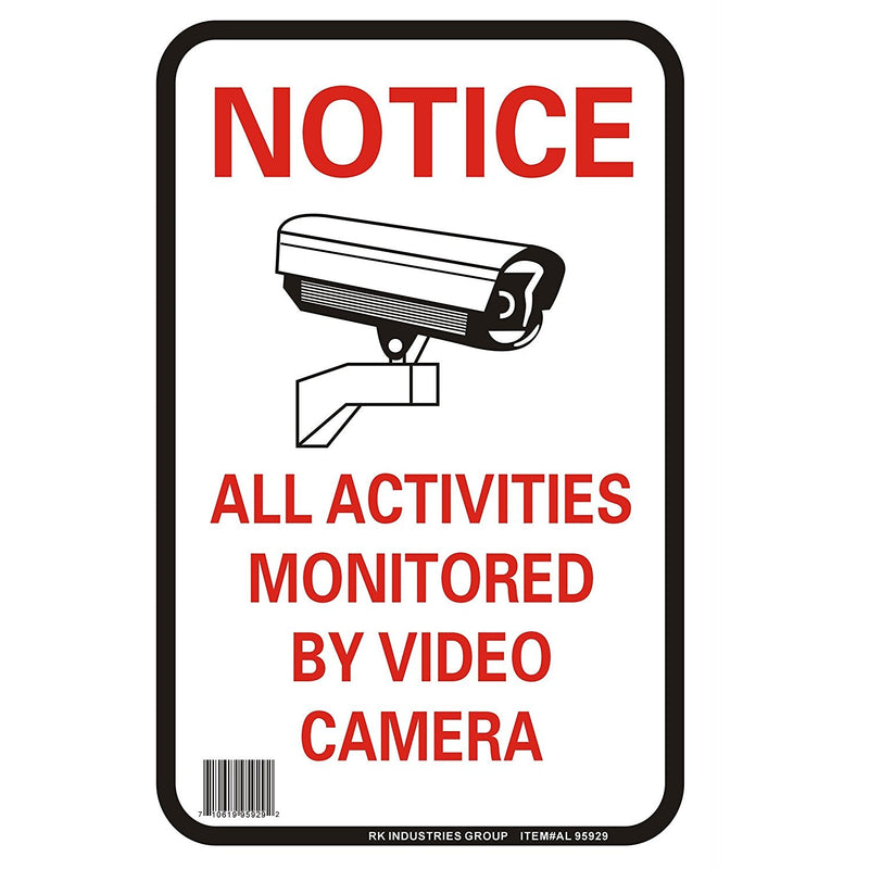 "RK OSHA Safety Sign, Legend ""Notice All Activities Monitored By Video Camera""-RK Safety-RK Safety"