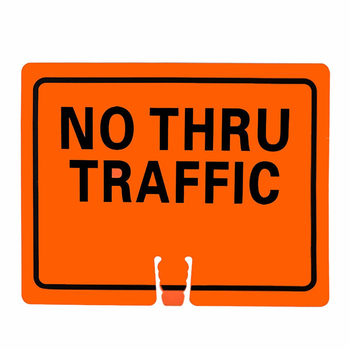 "RK Traffic Cone Sign 25 Legend ""No Thru Traffic"", 18"" Width x 14"" Height, Black on Orange - RK Safety"