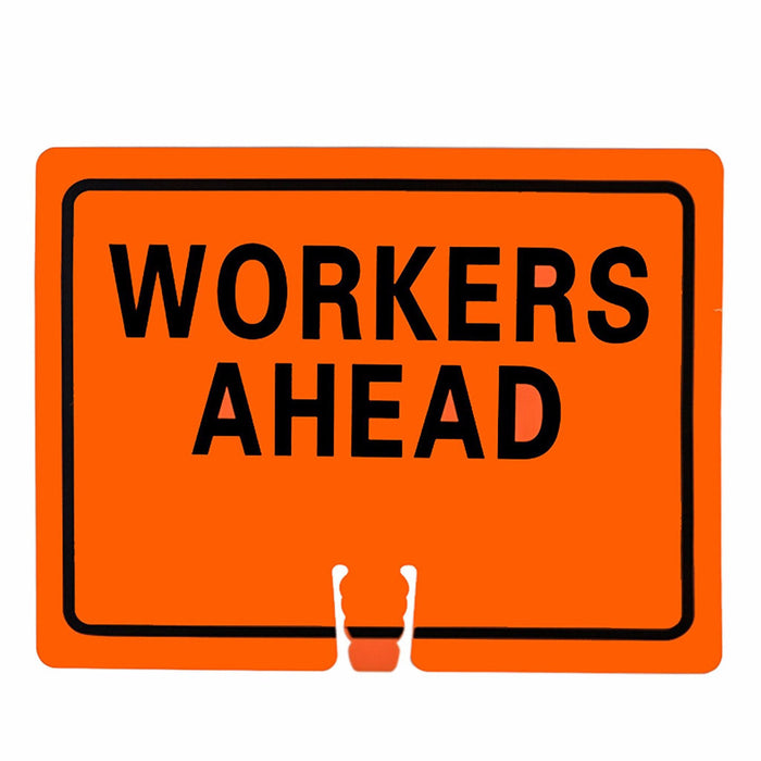 "RK Traffic Cone Sign 26 Legend ""Workers Ahead"", 18"" Width x 14"" Height, Black on Orange - RK Safety"
