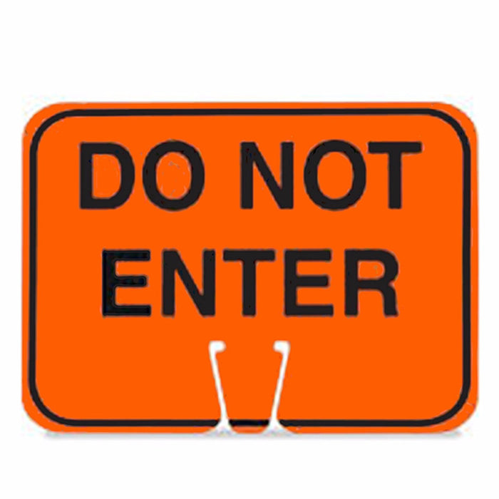 "RK Traffic Cone Sign 28 Legend ""Do not Enter"", 18"" Width x 14"" Height, Black on Orange - RK Safety"