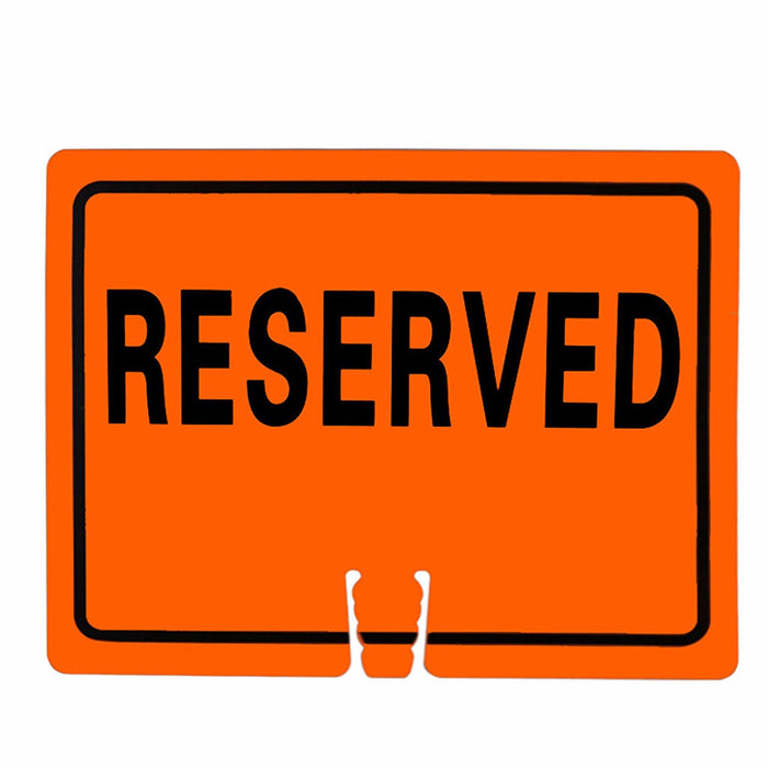 "RK Traffic Cone Sign 30 Legend ""Reserved"", 18"" Width x 14"" Height, Black on Orange - RK Safety"