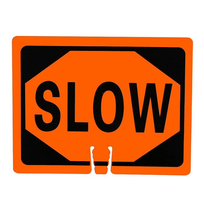 "RK Traffic Cone Sign 24 Legend ""Slow"", 18"" Width x 14"" Height, Black on Orange-RK Safety-RK Safety"