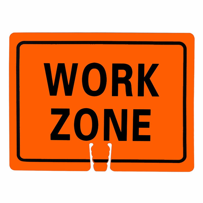 "RK Traffic Cone Sign 35 Legend ""Work Zone"", 18"" Width x 14"" Height, Black on Orange - RK Safety"
