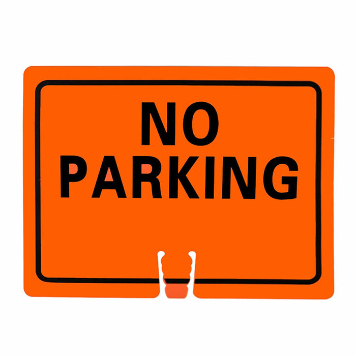 "RK Traffic Cone Sign 22 Legend ""No Parking"", 18"" Width x 14"" Height, Black on Orange - RK Safety"