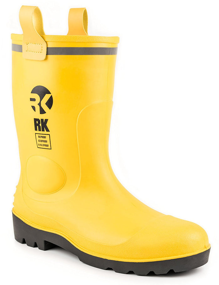 RK Mens Waterproof Rubber Sole Rain Boots - Yellow - RK Safety