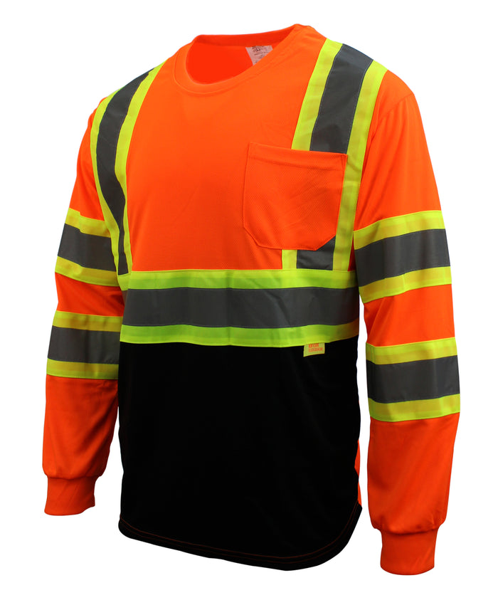 RK Safety BFL-T5711,2 Class 2 High Visible Two Tone Reflective Strips Breathable Mesh Tshirts with X Pattern, Pockets Harness D-Ring Pass Thru, ANSI/ISEA (Orange/Lime)-RK Safety-RK Safety