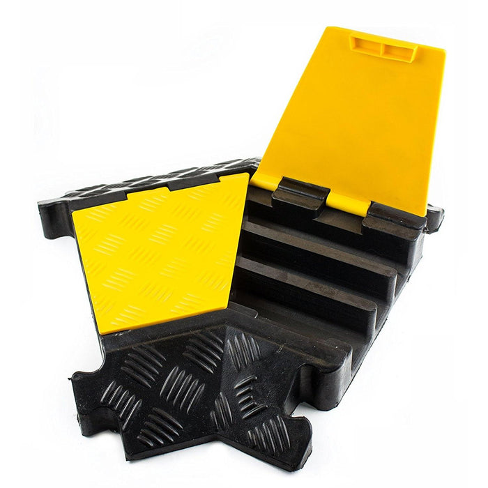 RK RK-CP-3CLT, 3Channel Modular Rubber Cable Protector Ramp-Left turn - RK Safety