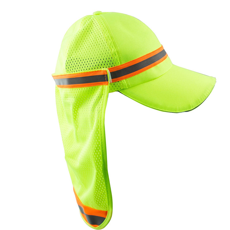 High Performance Hat/ Cap with Neck Shade - Lime-New York Hi-Viz Workwear-RK Safety