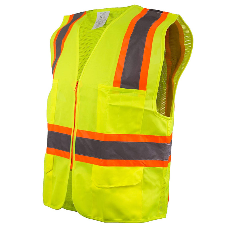 Class 2 Two Tone High Visibility Safety Vest- SRUSS9811&SRUSS9812 (Orange, Lime)-New York Hi-Viz Workwear-RK Safety