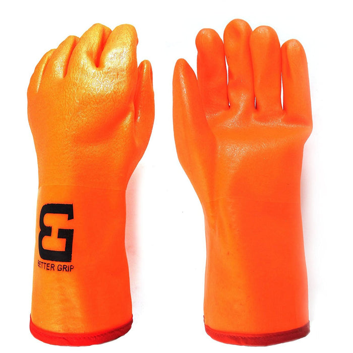 "Better Grip® 14"" 3 Layers Liner PVC Gloves Gauntlet Cuff - BG14ORG - RK Safety"