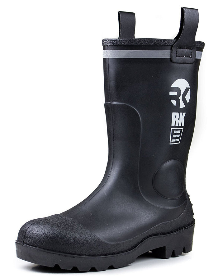 RK Mens Waterproof Rubber Sole Rain Boots - Black-RK Guard-RK Safety