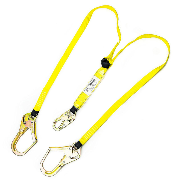 Spidergard 6 ft Energy-Absorbing Double Leg Lanyard with Hooks - RK Safety