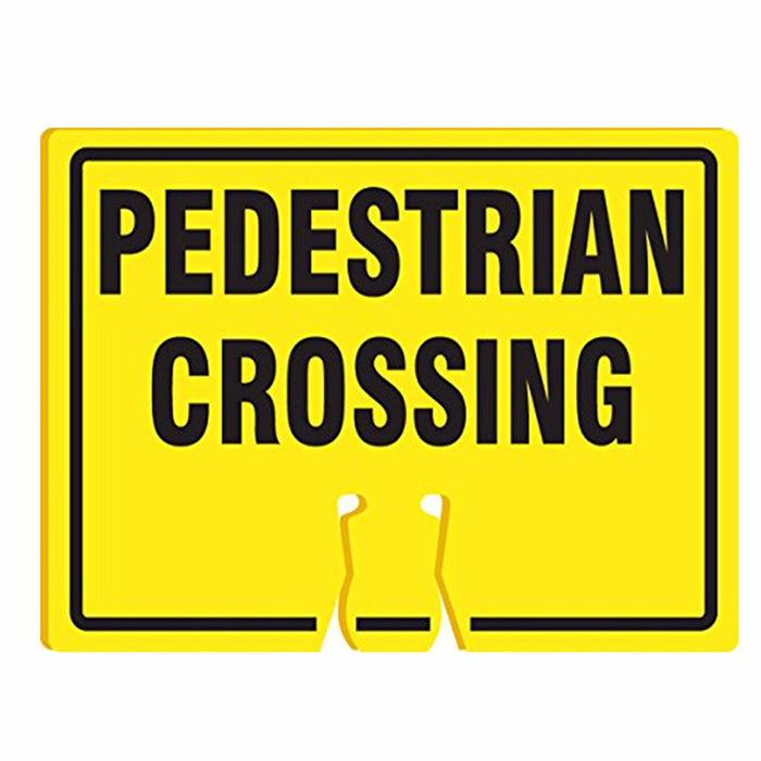 "RK Traffic Cone Sign 39 Legend ""Pedestrian Crossing"", 18"" Width x 14"" Height, Black on Yellow - RK Safety"