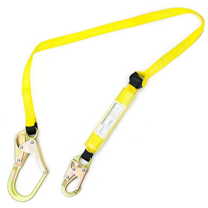 Spidergard SPLD002 6 ft Energy-Absorbing Single Leg Lanyard with Snap Hook and Rebar Hook - RK Safety