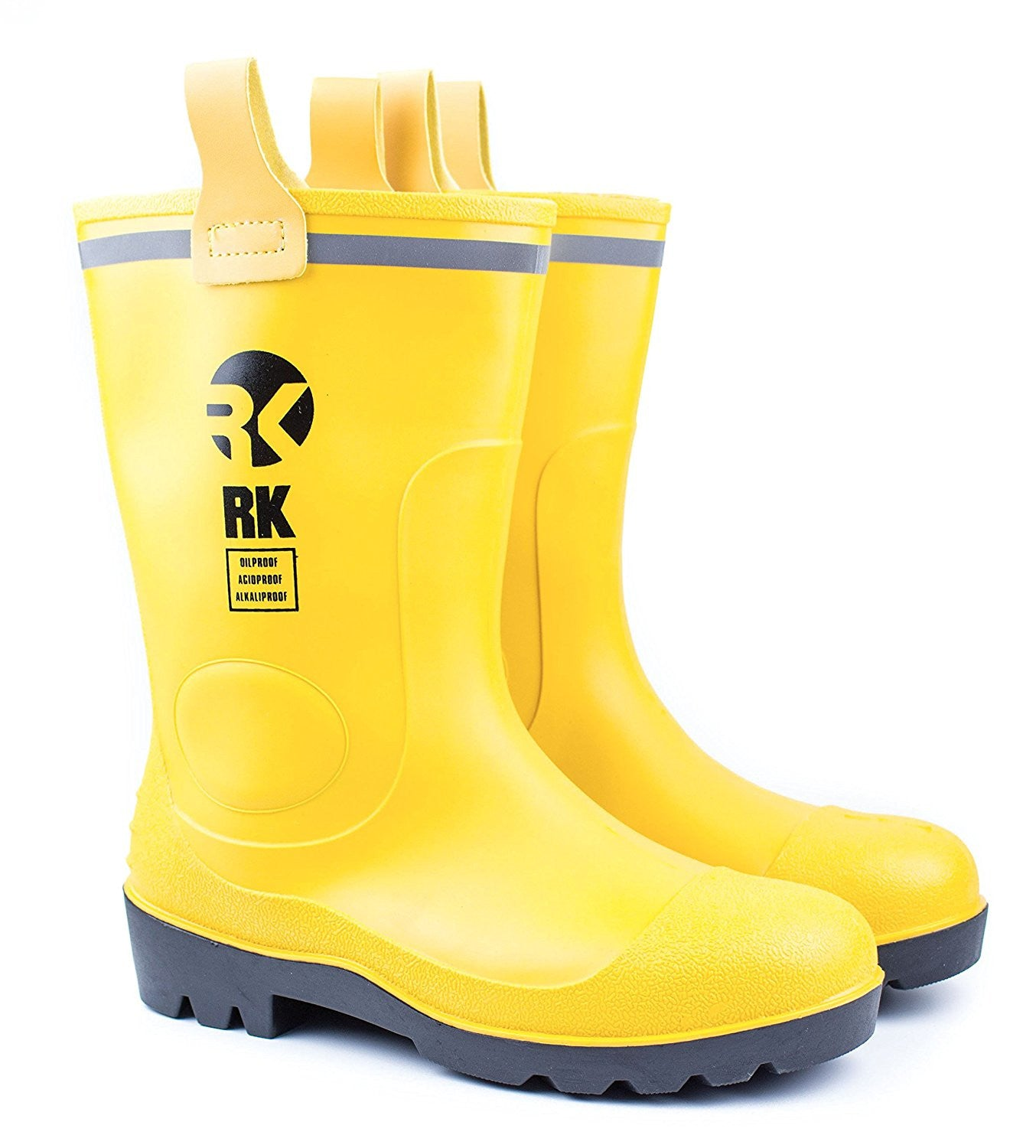 rk mens waterproof rubber sole rain boots yellow rk safety