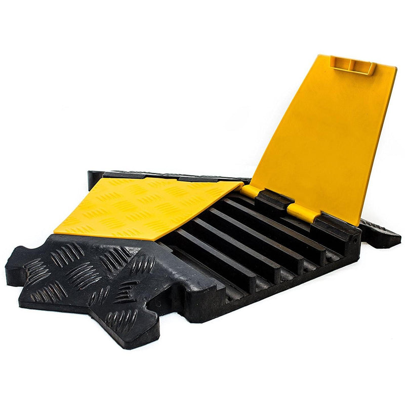 RK RK-CP-5CLT, 5Channel Modular Rubber Cable Protector Ramp-Left turn-RK Safety-RK Safety